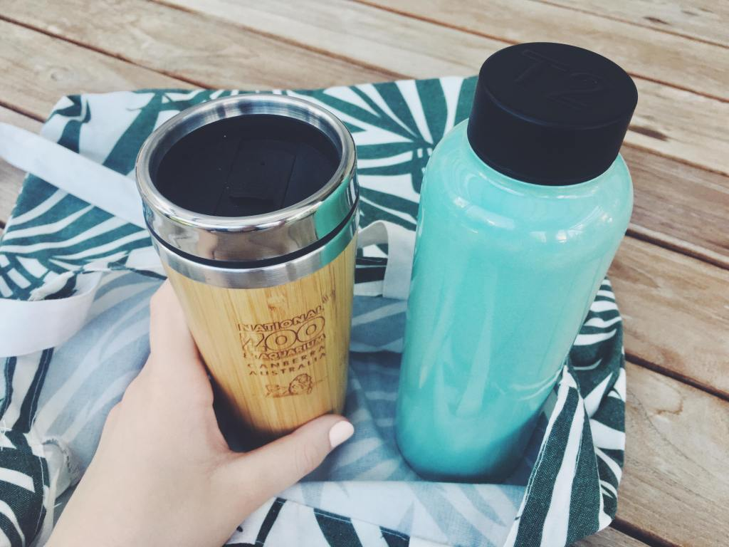 tea too metal water bottle tea infuser teal holographic and bamboo reusable coffee cup sustainable zero waste travel plastic free
