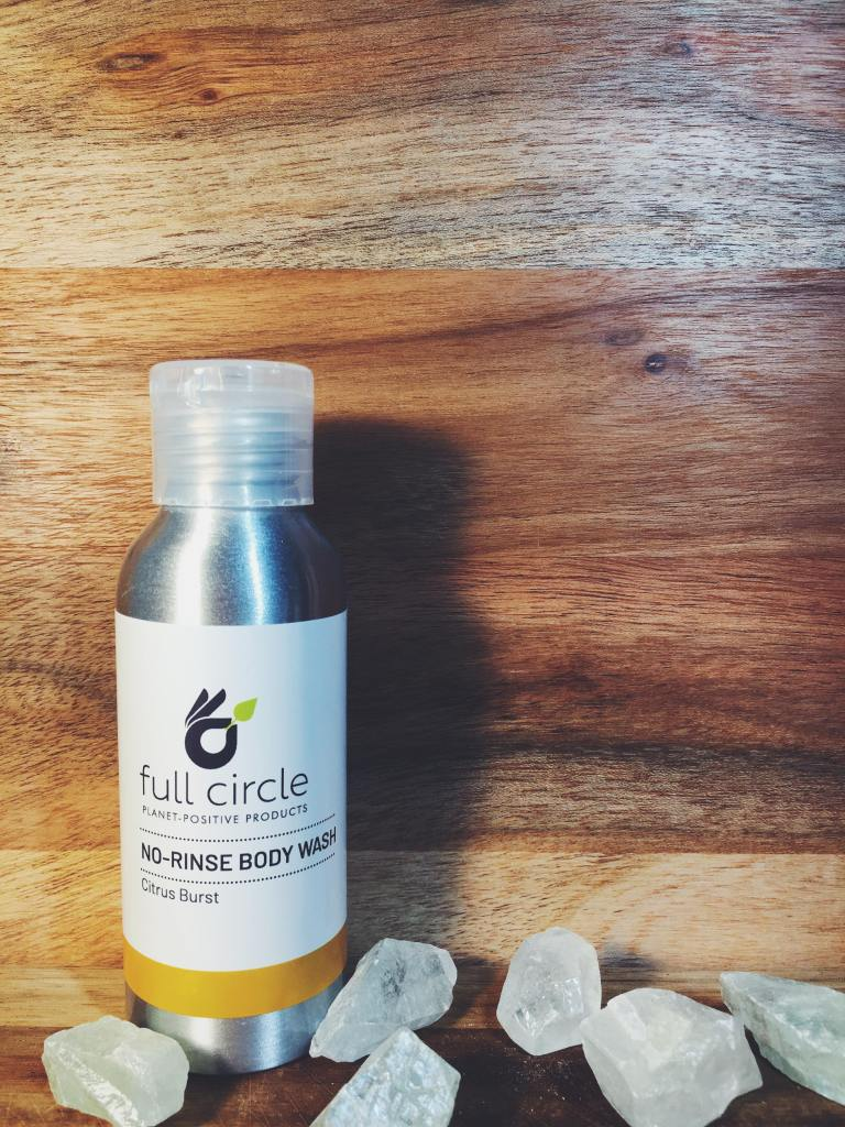 full circle planet positive products review sustainable plastic free zero waste norinse body wash citrus burst