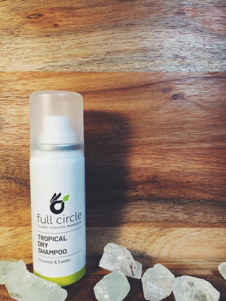 full circle planet positive products review sustainable plastic free zero waste tropical dry shampoo coconut